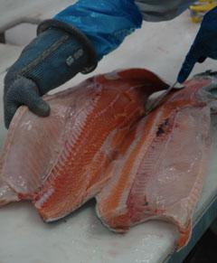 Filets de saumon coupés en papillon